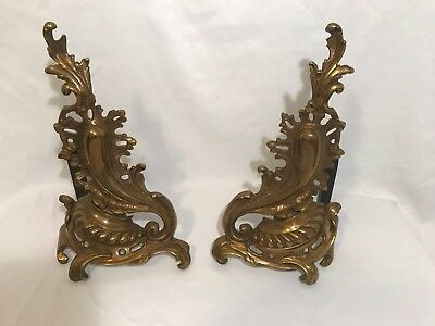 Antique Ornate Brass Fireplace Andirons Log Holders - Very Nice! Free Shipping!