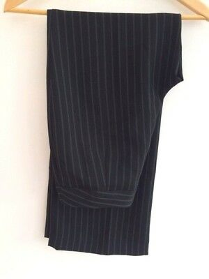 Black Pin Stripe Wide Career Trousers  Blogger Pants L 12 40 W40