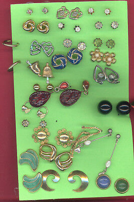 Large Lot Of Vintage Post Earrings Mostly Studs, 25 Pair