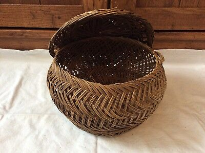 Vintage Hand Woven Basket With Attached Lid From Phillipines