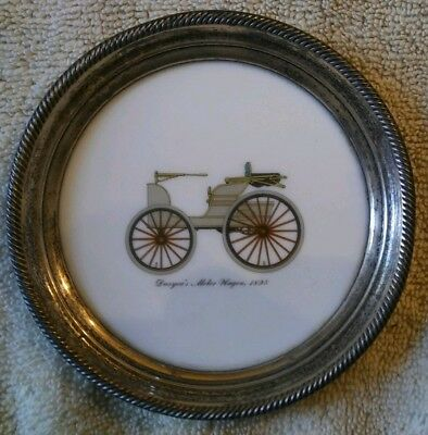 1895 Duryea Auto. Sterling Silver And Milk Glass Coaster?