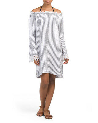 72cec7de90 LUNGO L ARNO Off The shoulder Striped Linen Dress Bianco Made In Italy Sz S