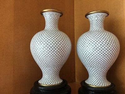 Cloisonne White Vases - Pair - Chinese - with base