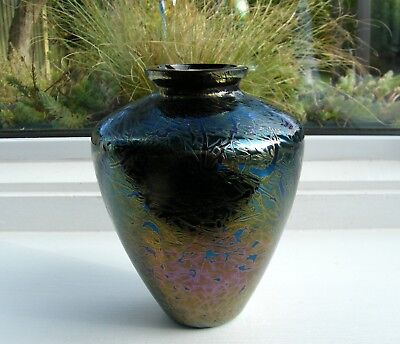 Vintage Loetz Glass Iridescent Oil Spot Multi-Coloured Cobalt Green/Pink Vase