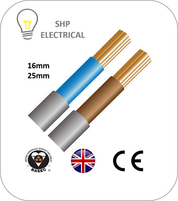 16mm 25mm Double Insulated Cable 6181Y Blue or Brown Meter Tails Single Core
