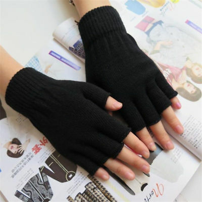 764 Unisex Mens Womens Ladies Finger less Thermal Magic GLOVES Black Warm Winter