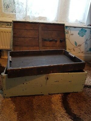 Vintage Antique Carpenters Chest/trunk Old Wood Tool Chest With Tray Inset.