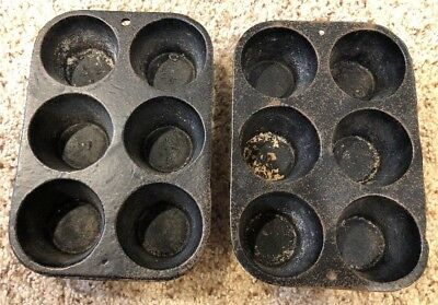 Lot of 2 VINTAGE Cast Iron 6 Muffin Pan Mold Primitive Decorative