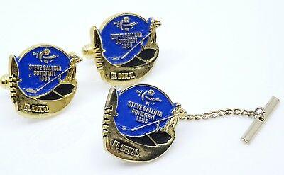 El Bekal Shriners Cufflinks Set w Tack Pin Vintage 1985 Potentate Gondola Blue