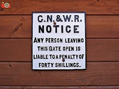 GN & WR RAILWAY GATE PENALTY SIGN. Cast Iron. Train Plaque, Vintage Style. Heavy