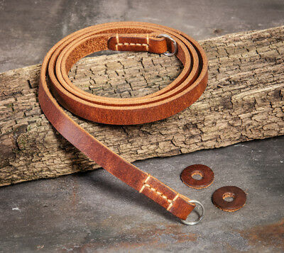 44 inch Hand Made stitched chestnut leather camera strap - separate protectors.