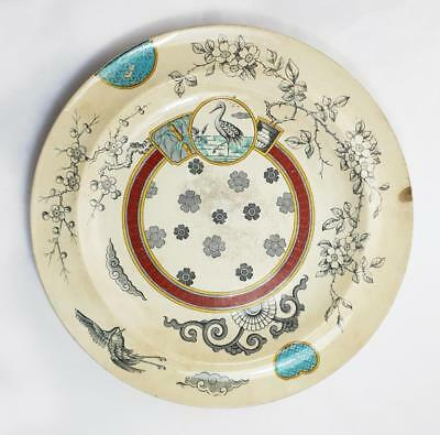 """Victorian AESTHETIC MOVEMENT """"IROQUOIS"""" POTTERY PLATE 1880"""