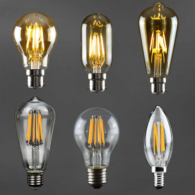 B22 E27 E14 Vintage Filament LED Light Bulb 2W 4W 6W 8W Amber Retro Edison Lamp