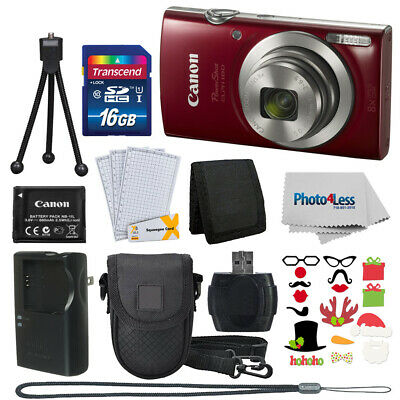 Canon PowerShot ELPH 180 Red + 16GB Great Value Holiday Bundle