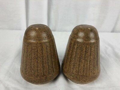 "Vintage Monmouth Brown Speckled Mojave Salt & Pepper Shakers 4"" tall"