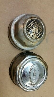 2-Vintage Lincoln Screw On Center Hubcaps Grease Caps Dust Cover Nash