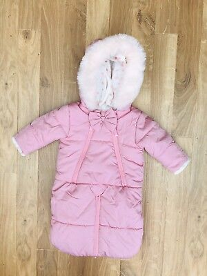 9853b0f4d JESSICA SIMPSON BABY Girls Pink Fleece Lined Snow Suit Age 3-6 ...