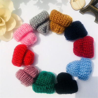 12PCS Mini Assorted Knitting Wool Yarn Hats for Hair Bow Crafts Decoration DIY