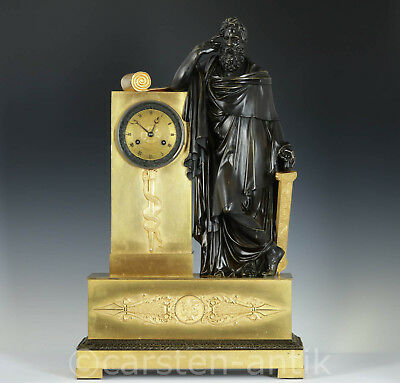 XL Picnot Pere a Paris 1810 French Empire ormolu bronze mantel clock Hippokrates