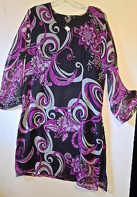 Women's   Purple and Black Tunic ~Size XL with sheer layer and sleeves