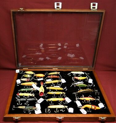 Collection of Antique Heddon Fishing Lures in Walnut Display Case