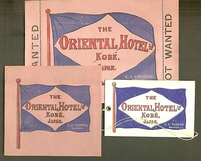 1907 Luggage Labels & Luggage Tag for The Oriental Hotel, Kobe, Japan