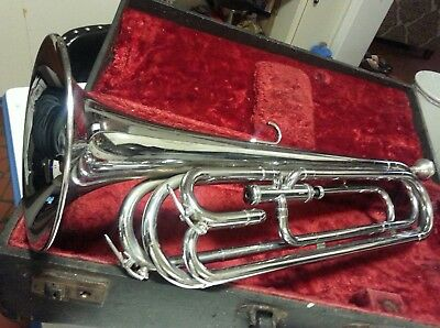 RARE USA ONE VALVE  SILVER SWINGERLAND BUGLE w/ Wood Pirate Case Just Serviced