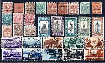 Italian Afican Colony Eritrea Selection Of 30 Stamps. Unused And Postally Used.