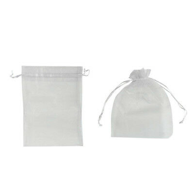 10pcs Drawstring Organza Bags Jewelry Pouches Transparent Gift Bags Silver