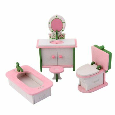Doll House Miniature Wooden Furniture Bathroom Set Chair Table Bathtub Toilet