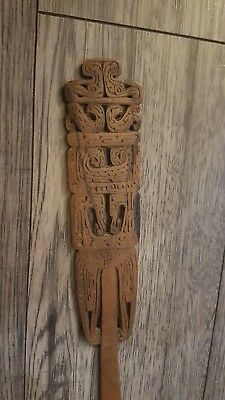 Antique Victorian Old Carved Wood Page Turner possibly Scandinavian, Norse.