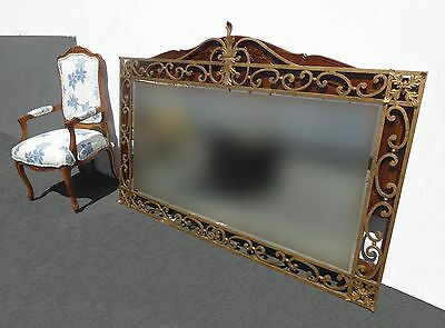 Large Vintage French Provincial Ornate Wrought Iron Gold Wall Mantle Mirror
