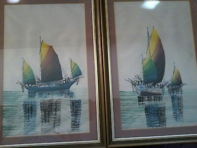 Two Vintage Chinese?  Silk Pictures. H 44Cm. Width 30.5Cm. Fishing Boat Scenes.