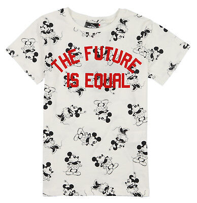 COTTON ON x Disney Mickey Minnie The Future is Equal T-Shirt sz 7 White Black