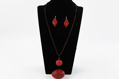 3 x Vintage CARVED CINNABAR Chinese Necklace, Silver Earrings & Egg Ornament