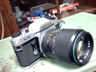 VINTAGE ASAHI PENTAX CAMERA KM JAPAN WITH F135 mm LENS N/R