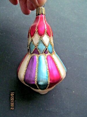 """Vintage Stained Blown Glass Type  Ornament Mica Trim Germany 4 3/4"""""""