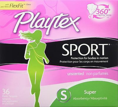 Playtex Sport Tampons Super Unscented 36 Count Plastic New In Sealed Box