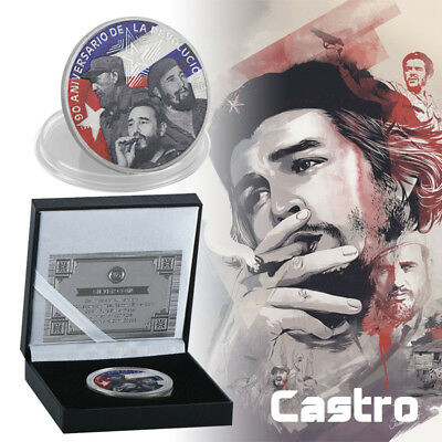 WR Silver Plated Fidel Castro Commemorative Coin in Box Souvenir Token Nice Gift
