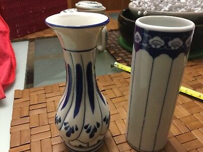 Choice of 2 blue and white ceramic Oriental vases 17cm high NWOT Unwanted gifts