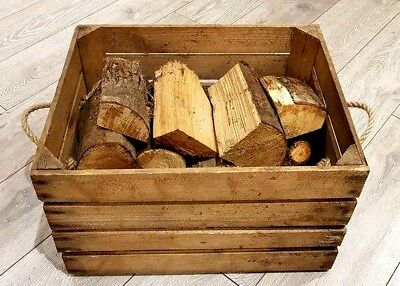 LOG BASKET / FIRE WOOD STORAGE - FIREPLACE KINDLING BOX  Old Wooden Apple Crate