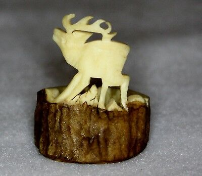 """Hand Carved Antler -  Elk 1.5"""" overall height - could be used as ring"""