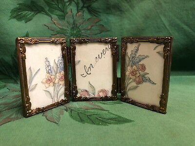 Vintage Victorian Ornate Mini Brass Metal Picture Frame Made in Italy Trifold