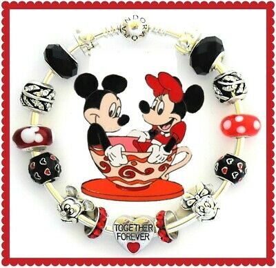 Authentic Pandora Charm Bracelet Disney Mickey Mouse Silver with European Charms