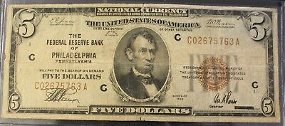 1929 $5 Five Dollar National Currency Philadelphia Fr # 1850C