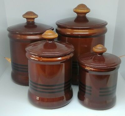 Vintage Westbend Aluminum 8 Pc Canister Set w/Wood Knobs Brown