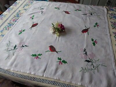 Vintage Hand Embroidered Linen Tablecloth-Robins & Holly Berries& Mistletoe