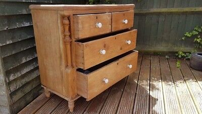 Antique Pine Chest of Drawers With Ornate Columns