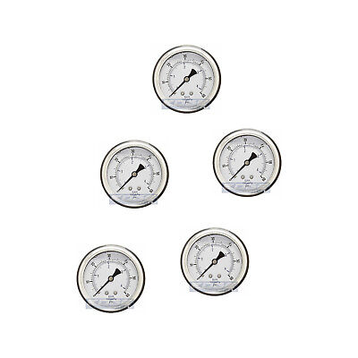 "5 Pack Liquid Filled Pressure Gauge 0-60 Psi, 2.5"" Face, 1/4"" Back Mount Wog"
