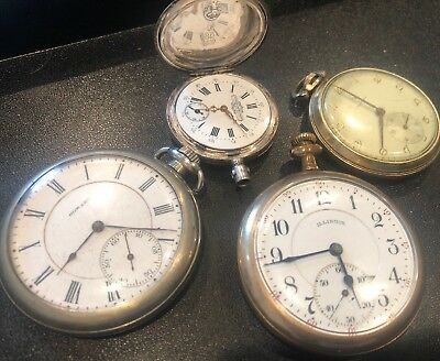 Pocket Watch Lot Of 4 For Parts Or Repair- Illinois, Howard, Helbros, Locle